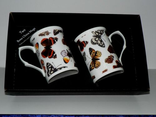 Butterfly mug gift set 2x bone china mugs with butterfly print in black gift box