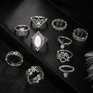 10Pcs-Set-Silver-Boho-Fashion-Charm-Gem-Moon-Midi-Finger-Knuckle-Rings-Gift