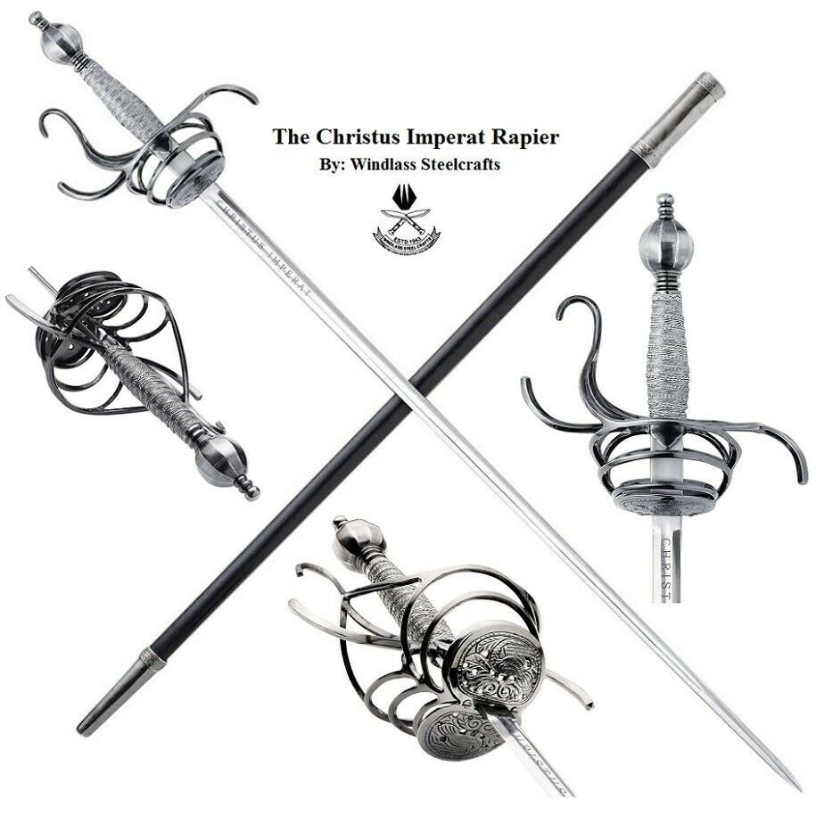 The Christus Imperat Rapier and Scabbard with Hand Forged Carbon Steel Blade