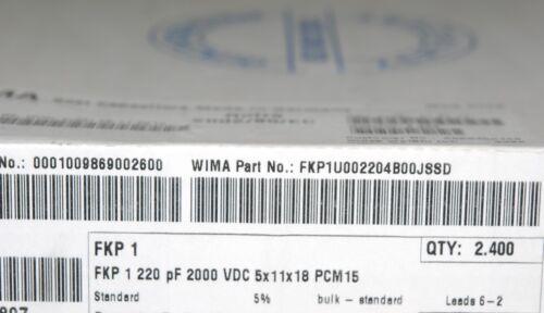 WIMA FKP1 220P 2000V 5/% pich:15mm Capacitor 10pcs 220PF 0.22nF