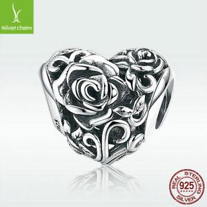 S925-Sterling-Silver-Charm-Bead-Rose-039-s-Heart-For-Stylish-Women-Bracelet-Jewelry