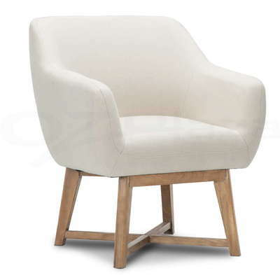 Aston Tub Chair Armchair Solid Wood Lounge Sofa Accent Fabric Retro Beige