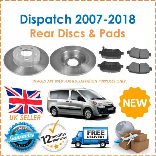 For Citroen Dispatch 2007-2018 Two Rear Solid 290MM Brake Discs /& Brake Pads Set