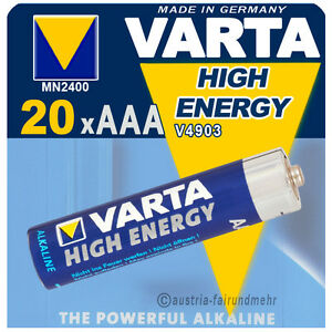 """20x Varta Batterie High Energy Micro Aaa Mn2400 Lr03 Delikatessen Von Allen Geliebt"
