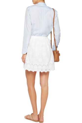 NEW Diane von Furstenberg DVF Sadey Cotton Eyelet Full Mini Skirt White 2 4