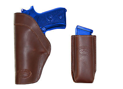 NEW Barsony Brown Leather Shoulder Holster Dbl Magazine Pouch Taurus Full Size