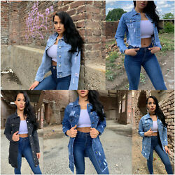 DAMEN JEANSJACKE KURZ LANG OVERSIZE DESTROYED STONE WASH DENIM JACKE MANTEL S-XL