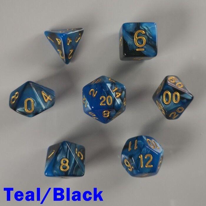 Elemental Poliestireno 7 Dado Rpg Set Teal D&d Negro Azul Dos Tonos D&d Teal Mazmorras 7c3587