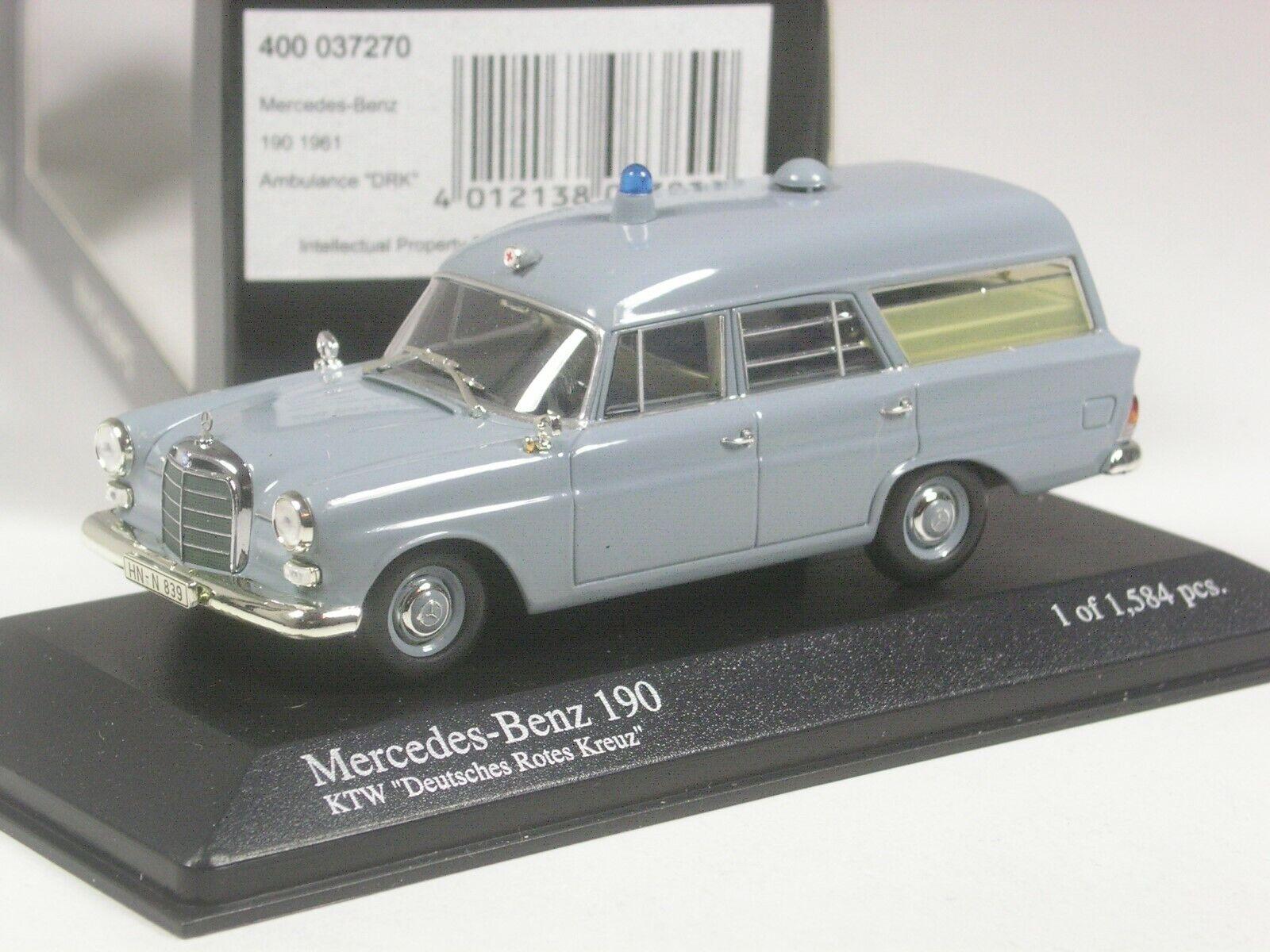 (KI-07-19) Minichamps Mercedes-Benz 190 PPH Ambulance grau in 1 43 BNIB