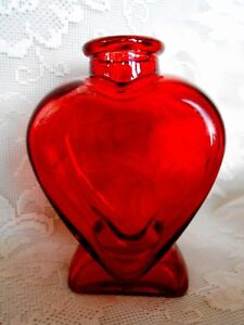 Cranberry/Ruby Red Stained Heart Shaped Pressed Glass Bottle /Vase - Valentine's