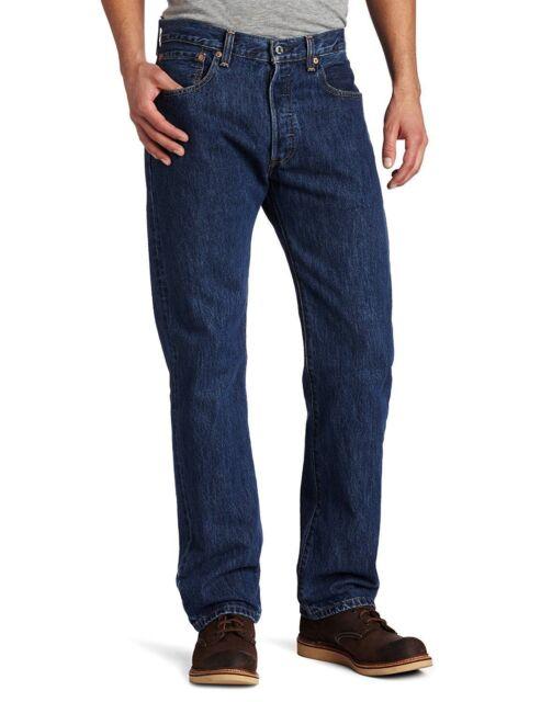 e499da54 Mens Dark Wash Levi's 501 Straight Leg Button Fly Jeans Size 33 X 30 ...