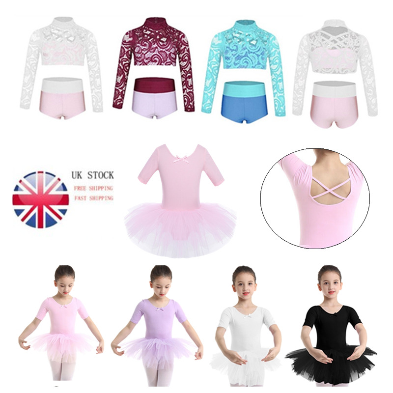 UK Kids Lyrical Ballet Tutu Dress Gymnastics Dancewear Crop Top+Bottoms Outfits