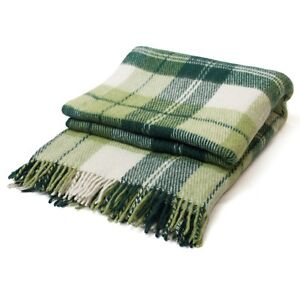 Luxury-Green-Plaid-Throw-Blanket-Soft-Warm-Wool-Twin-Full-US-Free-Shipping
