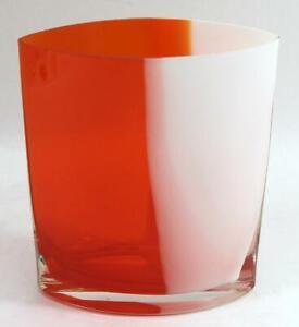 Vintage Margie's Garden of California Hand Blown Orange & White Glass Vase