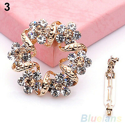 Modish Korean Brooch Jewelry Luxury Rhinestone Garland Scarf Clip Brooches Pin