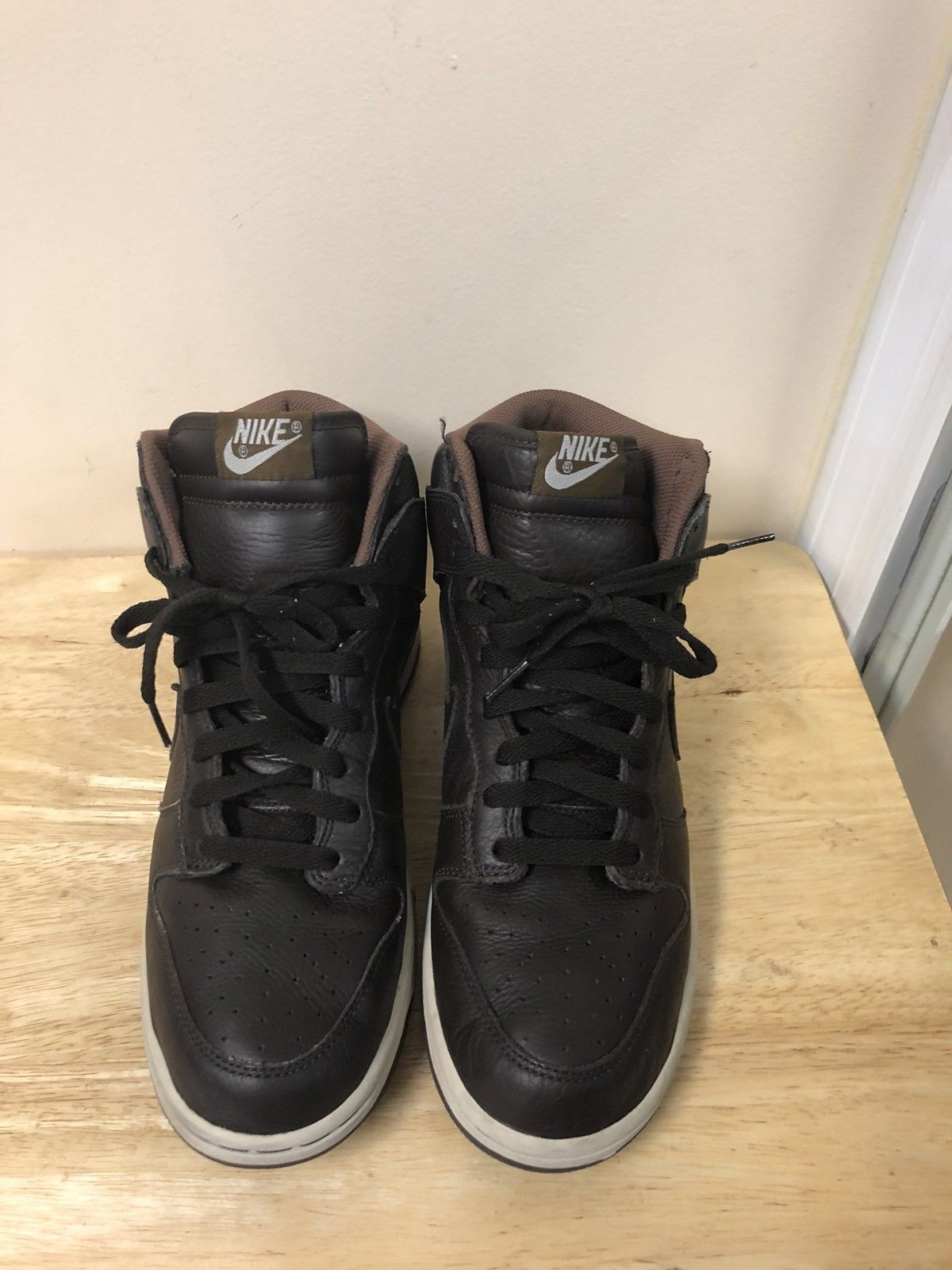 Nike Dunk High Leather Shoes Brown Men Size 10.5 Shoes Leather Sneakers 312786-222 fa864a