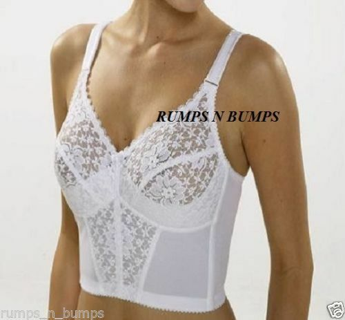 NEW MISS MARY OF SWEDEN LONG LINE WHITE BRA WITH SOFT LACE CUPS 2155