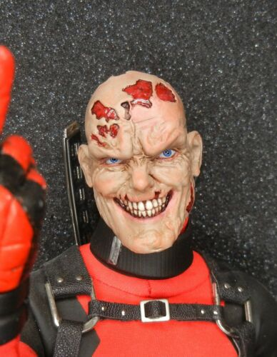 Custom 1//6 unmasked Deadpool head UNPAINTED head sculpt for the Sideshow Figure