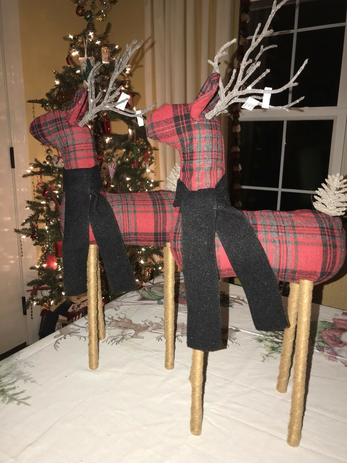 NEW Pottery Barn SET of 2 FABRIC REINDEER OBJECTS rot PLAID  Medium 20  Tall