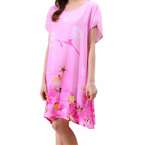 3881d9196ac Image is loading New-Women-Pajamas-Set-Sleepwear-Nightgown-Sleeve-Cotton-