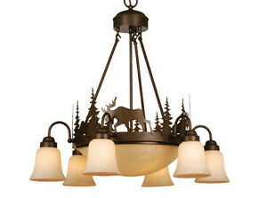 Image Is Loading Moose Vaxcel Yellowstone Rustic Country Chandelier Lodge Lighting