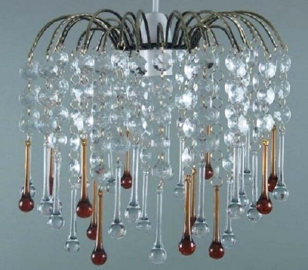 Acrylic Teardrop Pendant Ceiling Light Shade Chrome Frame Chandelier clear Amber