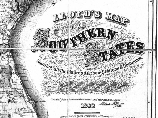 US CONFEDERATE STATES 1862 FL MAP Winter Garden Haven Springs Wright FLORIDA BIG