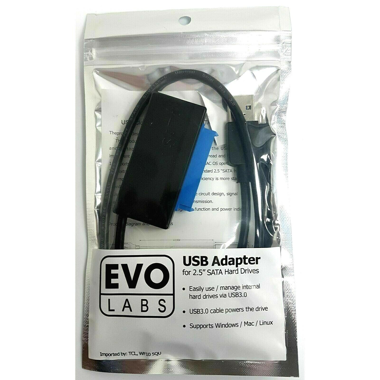 Evo Labs USB 3.0 A (M) to SATA (M) Black Retail Packaged Converter Adapter Cable
