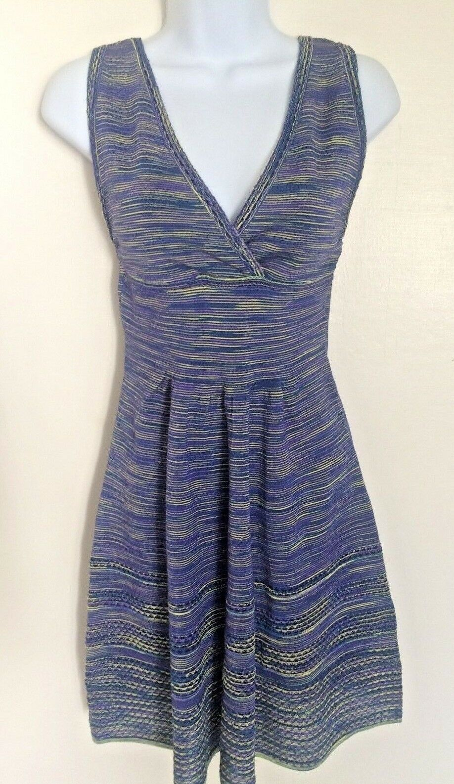 NWT NWT NWT  695 M Missoni purple multi stripe empire waist fit and flare dress Sz 40 Sm 342206