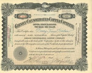 Gibson Consolidated Copper 1917 Gila County Arizona Pinal Mountains mining stock