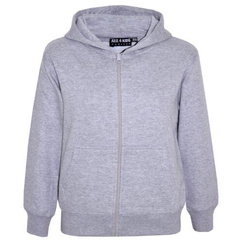 Kids Boys Unisex Plain Fleece Grey Hoodie Zip Up Style Zipper Age 2-13 Years
