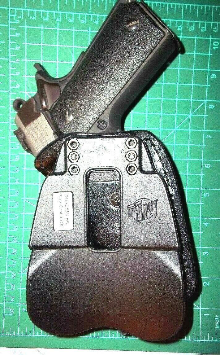 "Front Line QUAD55C-BK AMBI Leather Kydex Paddle IWB Holster Colt ParaOrd 1911 5/"""