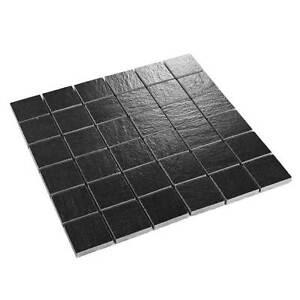Feinsteinzeug mosaik fliesen mosaikfliesen schiefer optik schwarz 5 x 5 cm ebay - Mosaik fliesen schwarz ...