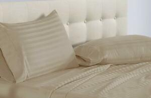 BEST-BEDDING-COLLECTION-100-Egyptian-Cotton-1000-TC-USA-Sizes-Taupe-Stripe