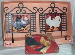 Rooster Wall Hooks Kitchen Towel Set Of 2 Metal Ceramic