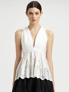 5e263e1676bfc7  675 NEW THAKOON Lace Peplum Top Embroidered White Eyelet Blouse V ...