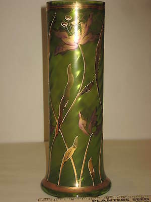 Antique Emerald Green Art Glass Vase, hand painted