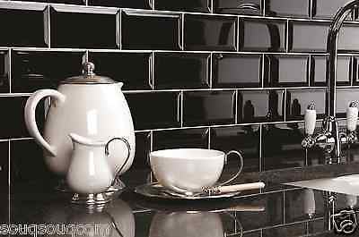 TILE DEALS BLACK GLOSS VICTORIAN METRO BEVELLED KITCHEN WALL TILES 10 X 20CM