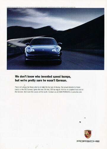 Classic Advertisement Ad A38-B 2002 2001 Posche 911 Carrera  320hp speed bump