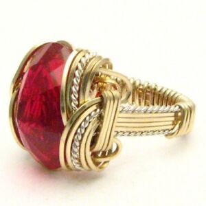 Handmade-Wire-Wrapped-Man-Made-Ruby-Two-Tone-Silver-14kt-GF-Gemstone-Ring