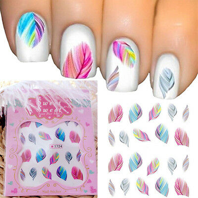 Water Transfer Stickers Nail Art Tips DIY Feather Decals Rainbow Dreams