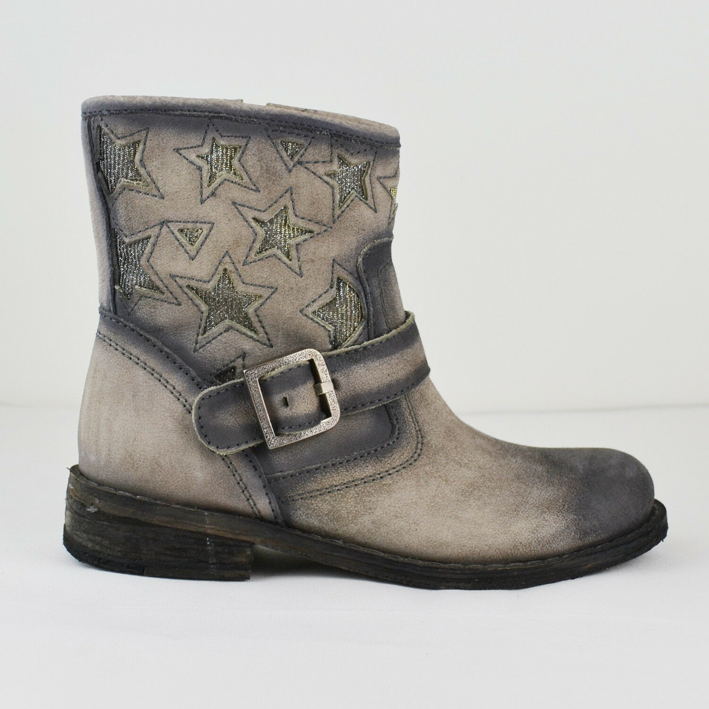 LAZAMANI Damen Stiefel Cowboy Style Leder Alaska Asfalto Gr. 36-38 Neu