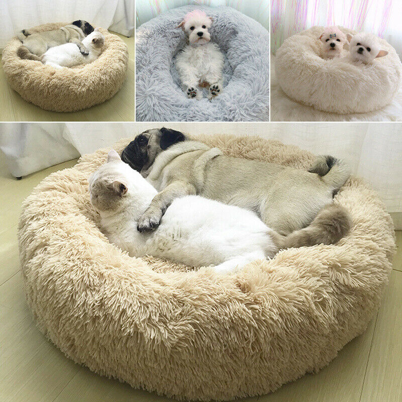 Comfy Calming Dog Cat Bed Round Warm Soft Plush Pet Bed Marshmallow Cat Bed XXXL 3