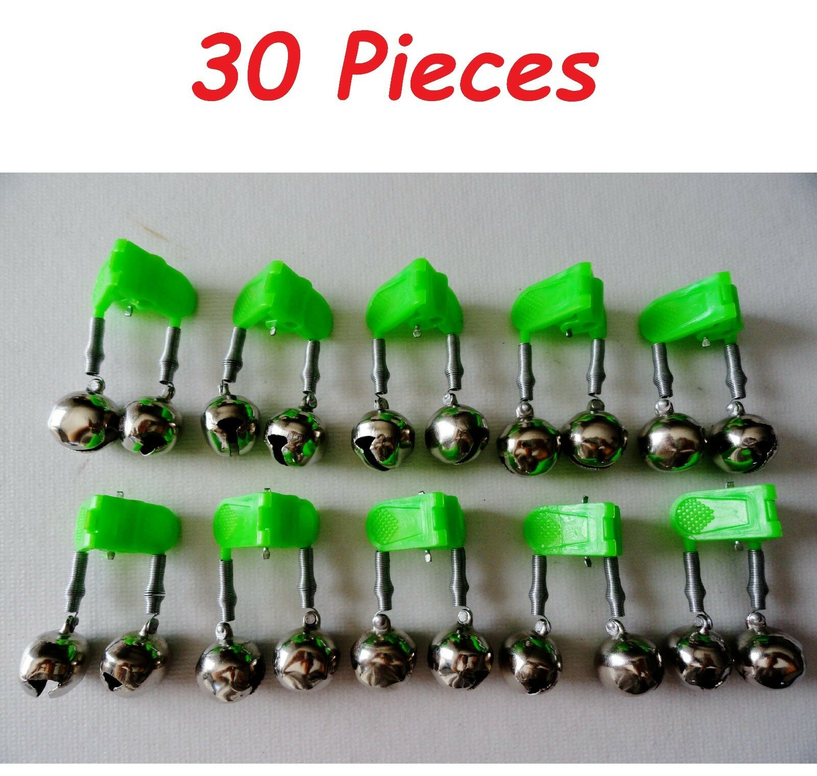 Fishing Double Bells verde Clip with Glow Holder Twin Bells 30 Pieces
