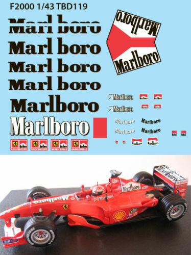 1//43 FERRARI F1 F2000 2000 MICHAEL SCHUMACHER SPONSOR DECALS TB DECAL TBD119
