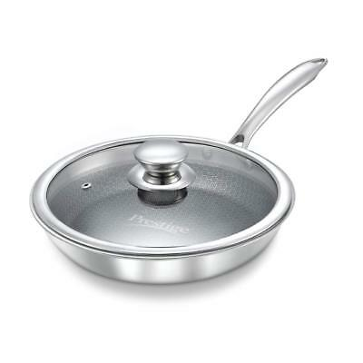 Prestige Tri-Ply Honeycomb Stainless Steel Fry Pan With Lid Induction Base 28 cm
