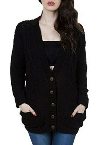 New Women/'s Ladies Long Sleeve Pocket Cable Knit Chunky Winter Cardigan Size8-24