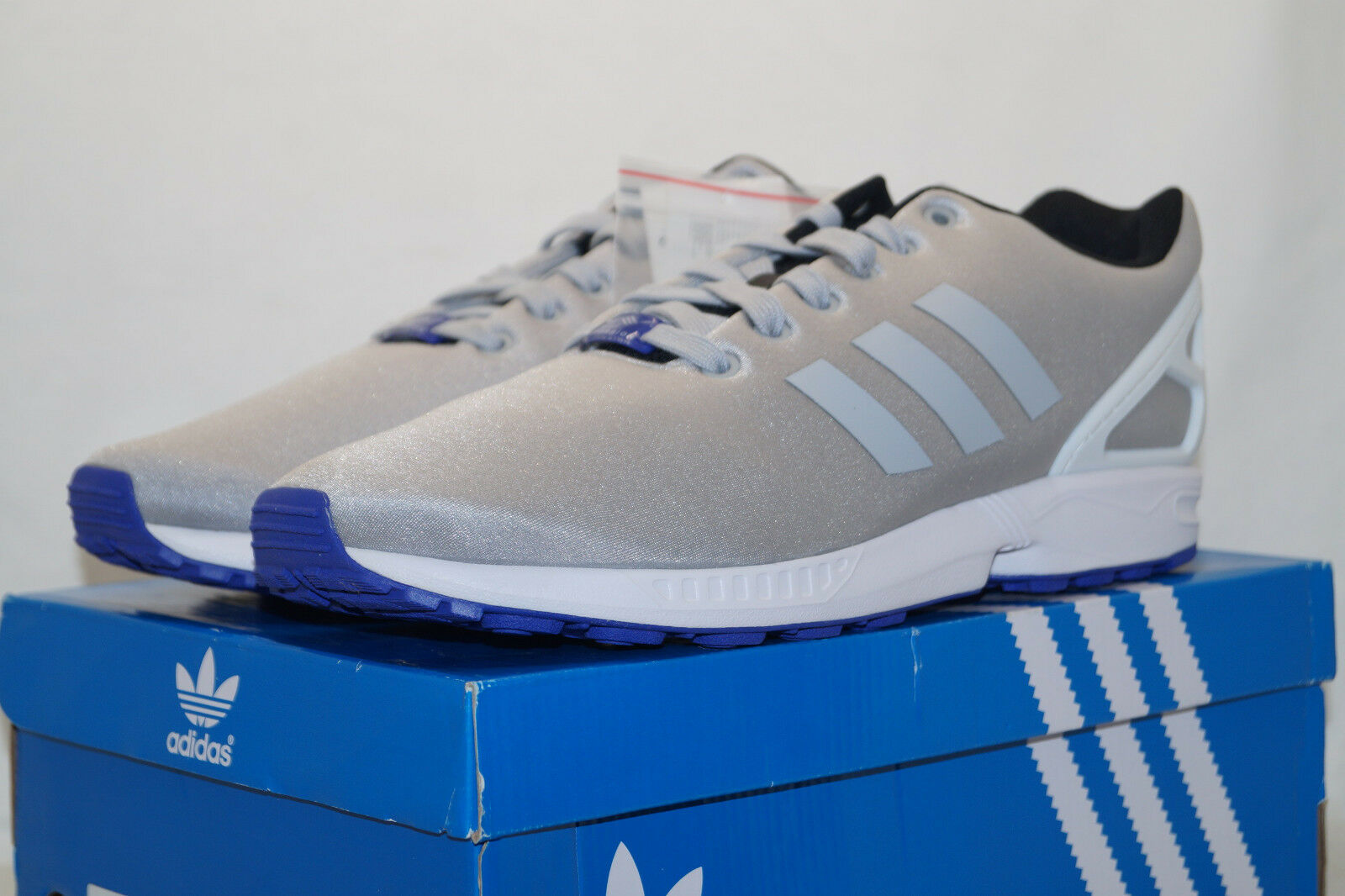 Adidas Originals ZX Flux torsion UE 46.6 uk11.5 gris plata b34505 cortos