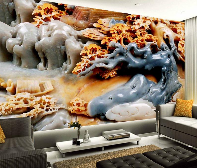 3D Graue Baumsteine 853 Tapete Wandgemälde Tapete Tapeten Bild Familie DE Summer  | Hohe Qualität  | Deutschland  | Leicht zu reinigende Oberfläche
