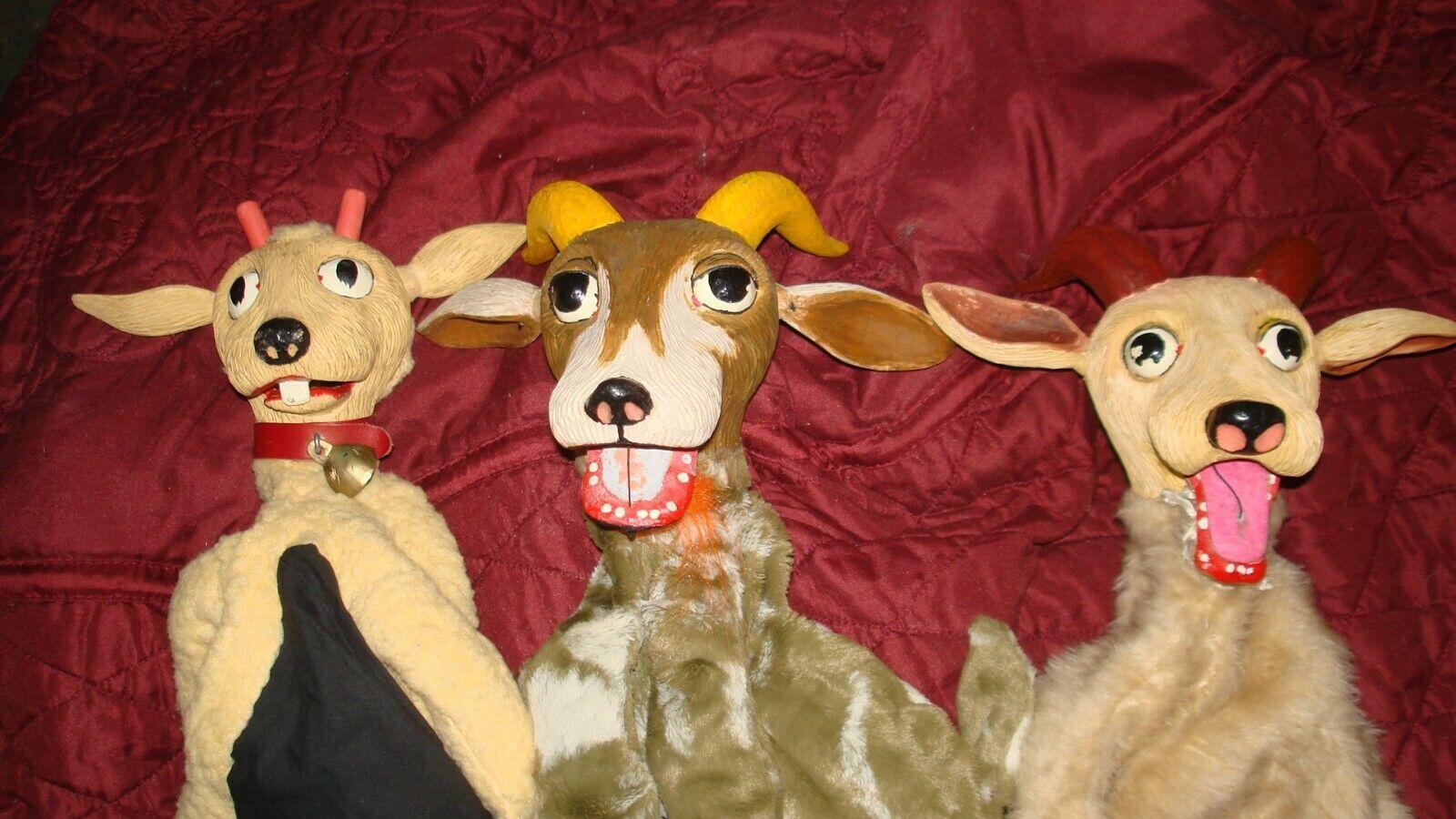 si affrettò a vedere Paul's Puppets Lot of Three Billy Goats Gruff Gruff Gruff He Puppets '50s Baltimore T.V.  economico